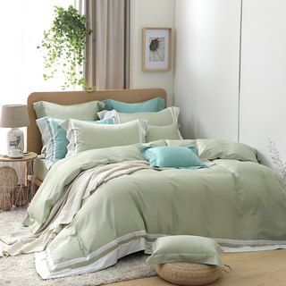 (Extra large size) dream coloring - pink green 60 cotton multi-layer design bed package four sets