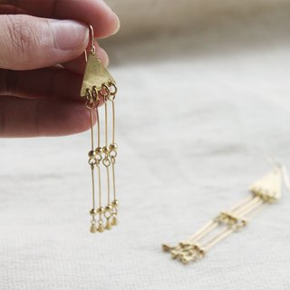 Triangle Chandelier Brass Earrings - 14K Gold Filled Hooks / Clip-Ons