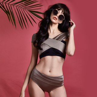 Ayu - Two Piece Swimwear color: Metallic Grey/Midnight (CREX80)