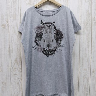 ronronRABIT One piece Tee Flower Frame (Heather Gray) / RPT 046-GR