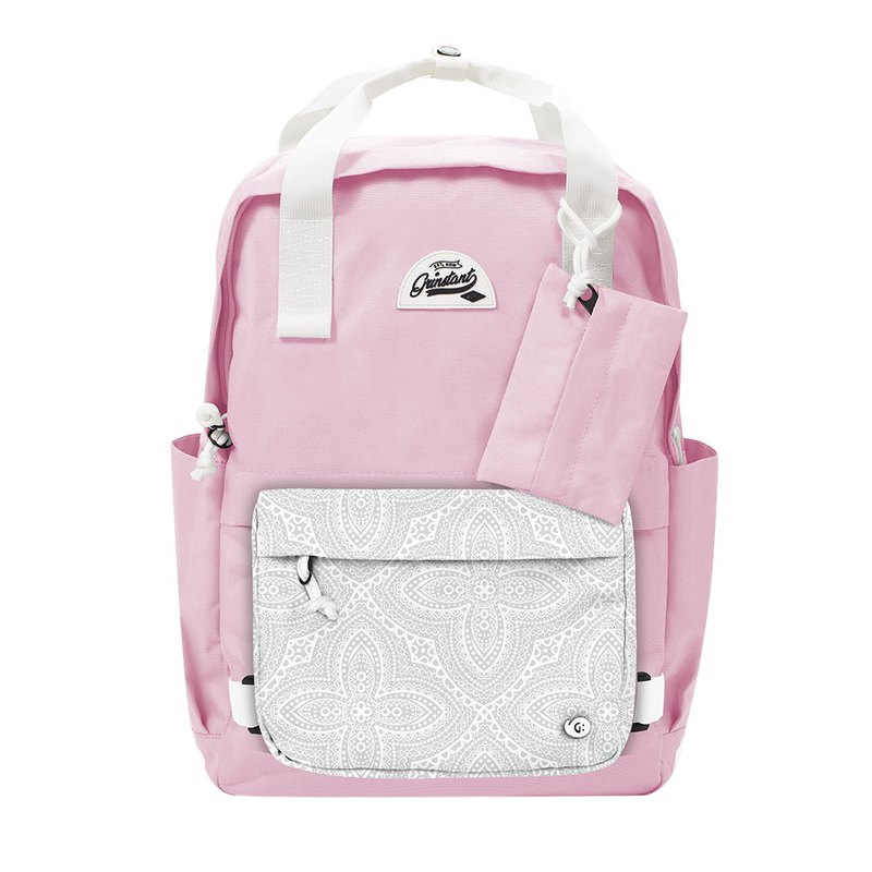 Grinstant mix and match detachable 15.6-inch backpack-Dream Series (pink with white dark flowers)