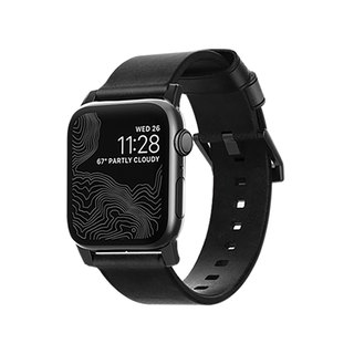 NOMAD Apple Watch special rustic black leather strap - modern black 42mm (855848007588