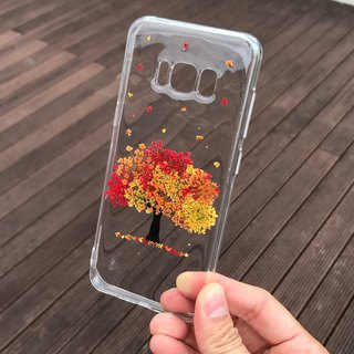 Samsung Galaxy S8 Handmade Pressed Flowers Case Orange-Red Tree case 009
