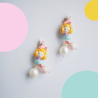 Japanese clay hand pearl powder girl earrings ear clip