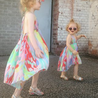 Girls Summer Party Dress in Rainbow