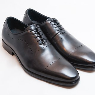[LMdH] E1A24-99 hand-colored calfskin leather with carved Oxford shoes leather shoes men's shoes - black - Free Shipping