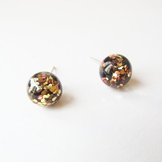 * Rosy Garden * Golden glitter with water inside glass ball earrings
