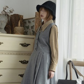 V-neck wool-blend vest skirt|dress|autumn|wool blend|independent brand|Sora-212
