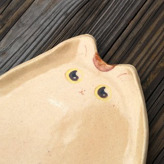 Hand painted cat pottery - breakfast cat
