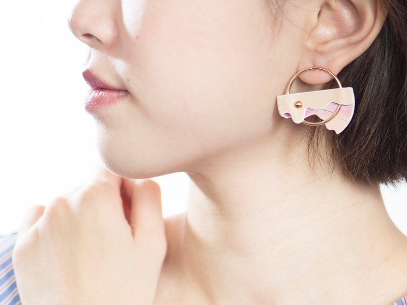 NoBeing iceland Icelandic Series - Contour gradient semicircular leather earrings