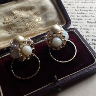 2 WAY / 14 kgf Coral Flower × Vintage Pearl Bijour Ring Earring / Ear Clip