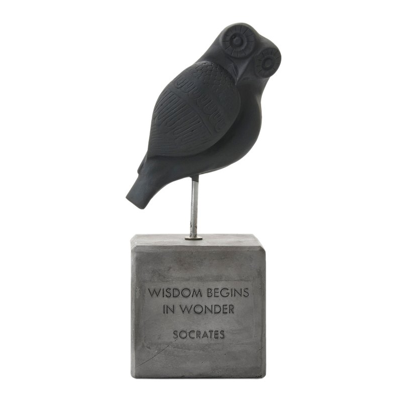 Ancient Greek Owl Ornament Wisdom Owl (Black) - Handmade Ceramic Statue