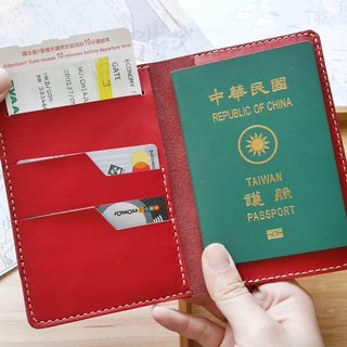Passport set wine red Italian leather free customized lettering
