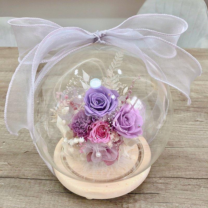 母親節花禮 永生花玻璃燈罩 可客製化
