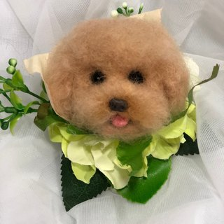 Lady Dog - Wool Felt Dog Head Wrist Flower