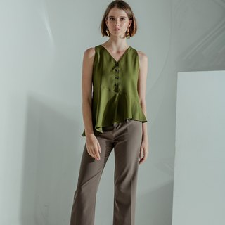 Asymmetric Buttoned Top (Olive)