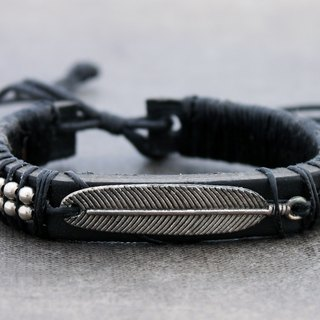 Leather Beaded Bracelets Men Unisex Feather Charm Adjsutable