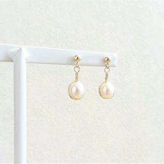 Classic Freshwater Pearl Wrapped 14K GF Drop Earrings - Oval Shaped