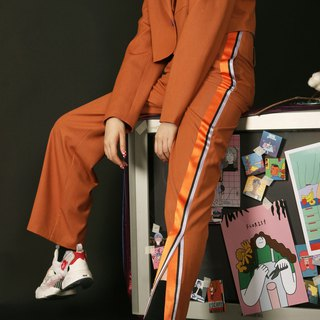 Earth orange high waist straight slimming high long pants casual pants