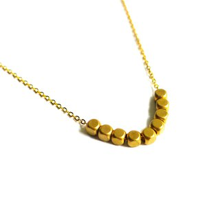Ficelle | handmade brass natural stone necklace | [small square] Brass 18K gold clavicle chain