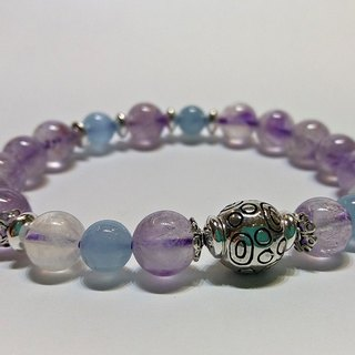 Flower - Natural Lavender Violet Crystal + Aquamarine + Blue Moonstone Sterling Silver Bracelet Hong Kong Original Design