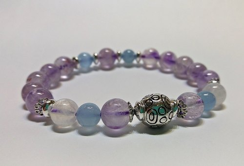 """Flower"" - Lavender Purple Crystal + Aquamarine + Blue Moonstone sterling silver bracelet Hong Kong original design"