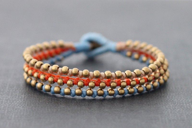 橙色藍色黃銅編織串珠手鐲,實心黃銅串珠多股袖口手鐲