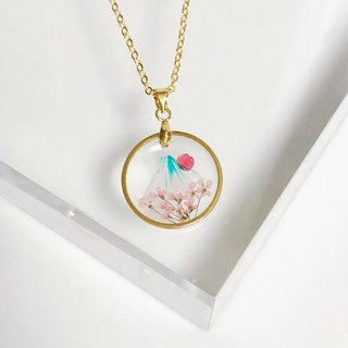 Sakura Mount Fuji (Pressed Flower Necklace)