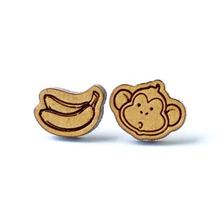 Plain wood earrings-Monkey&banana