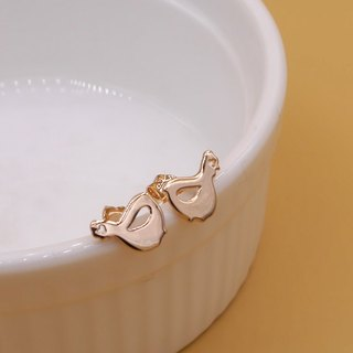 Handmade little chicken Earring- Pink gold plated on brass