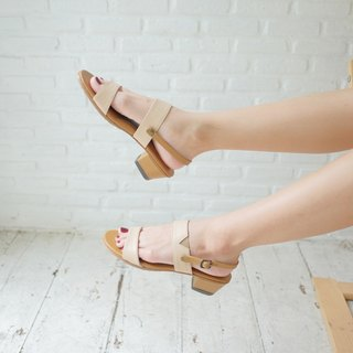 Minimal Natural Leather Sandal Heel Removable strap Rubber sole