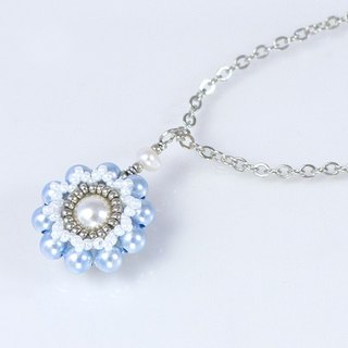 Pearl flower pendant necklace, elegant, bridal party jewelry, gift, 150-338