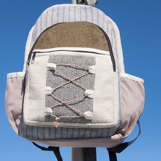 Cotton and linen stitching design backpack backpack national mountaineering bag handmade computer bag - forest wind green