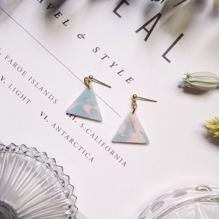 La Don - Stone Triangle - Blue Ear Pins / Ear Clips
