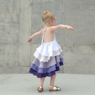 Girls Birthday Party Summer Flamenco Dress in Purple Ombré 0-2 Years