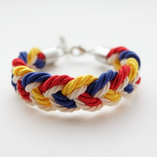 Yellow red blue cream rope braided bracelet