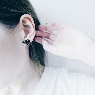 Geometric Black Striped Earrings