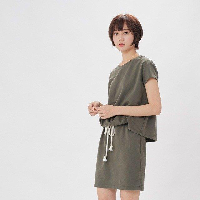 法國小毛圈衣裙洋裝/欖綠