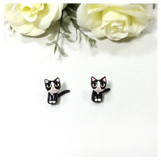 Tuxedo Cat Earrings, Gauge & Plug Earrings, Two Piece Earrings