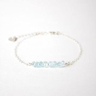 Handmade Simple Aquamarine beads with 925 silver Bracelet, Birth stone for March