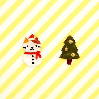 Meow original hand made Xmas Christmas Limited Edition Christmas Cat Snowman and Christmas tree earrings - Limited