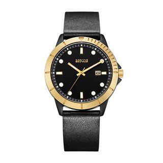 BAOGELA - DISCOVER Collection Gold Black Dial / Black Leather Watch