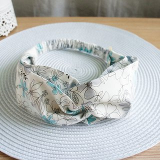 Lovely【Beauty Flower Butterfly Hair Elastic Ribbon and Hair Band】Light Blue Grey E