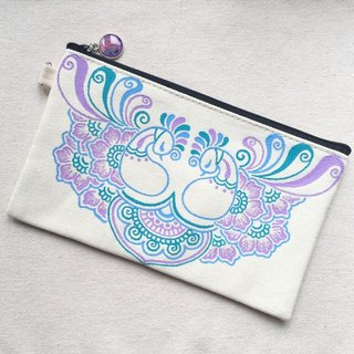 Hand Painted Henna bag Mandala bag Pattern Zipper Pouch Coin Purse Cotton Cosmetic Bag Pencil Case Phone Wallet Hand Drawn Art