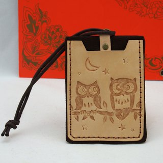 Double leather card holder certificate set - owl's blessing (shadow carving)