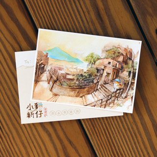 Kitty New Waves Travel Notes Series Postcard - Tamsui Redevelopment Street