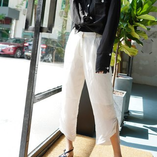 Original design linen side slit irregular hem cropped trousers in white