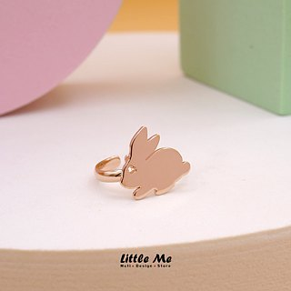Handmade little Bunny Ring - Pink gold plated on brass, Tiny Ring