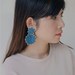 Rachaburi Earrings (Navy Blue) (clip-on / piercing)