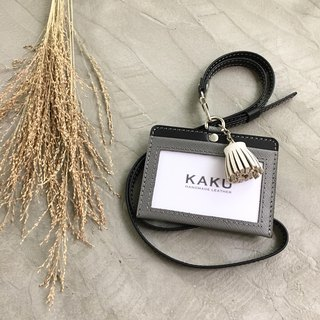 KAKU leather design customized identification card holder clip gray cross pattern + white small tassel